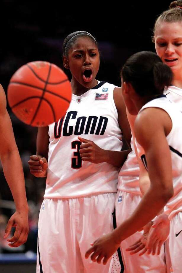 NEW YORK - DECEMBER 19:  Tiffany Hayes #3 of the Connecticut Huskies reacts against the Ohio State Buckeyes in the Maggie Dixon Classic at Madison Square Garden on December 19, 2010 in New York City.  (Photo by Jeff Zelevansky/Getty Images) *** Local Caption *** Tiffany Hayes Photo: Jeff Zelevansky, Getty Images / 2010 Getty Images