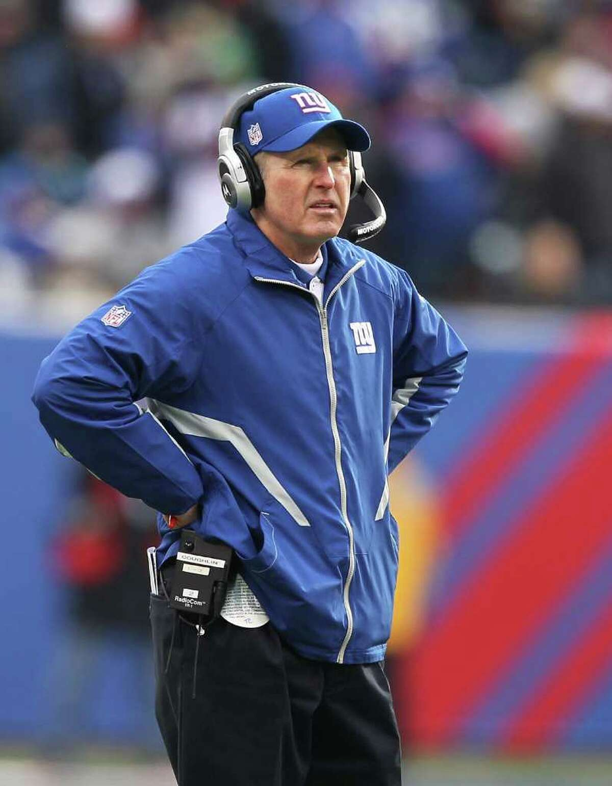 EAST RUTHERFORD, NJ - DECEMBER 19: Tom Coughlin, Head Coach of the New York Giants looks on against the Philadelphia Eagles during their game on December 19, 2010 at The New Meadowlands Stadium in East Rutherford, New Jersey. (Photo by Al Bello/Getty Images) *** Local Caption *** Tom Coughlin
