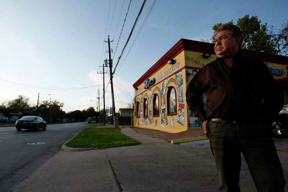 """""""I hope they don't come in here, they can stay out of our neighborhood,"""" Guillermo Memo Villarreal, who has been owner of Memo Record Shop on the corner of 75th and Canal for 42 years, said of the recent robbery shootings in the east end of Houston.  Villarreal's store is located a block from a grocer who shot and killed a robber this weekend.  Johnny Hanson/Houston Chronicle Photo: Johnny Hanson, Staff / Houston Chronicle"""