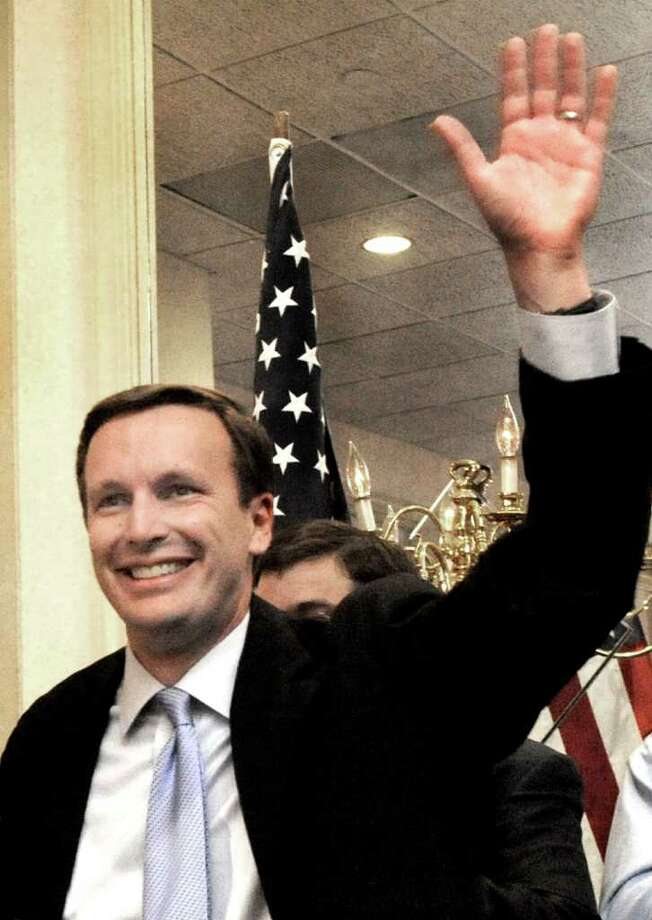 Chris Murphy announces victory at his Waterbury Headquaters on election night, Tuesday, Nov. 2, 2010. On Monday he said he is considering running for Joe Liberman's Senate seat. Photo: Michael Duffy