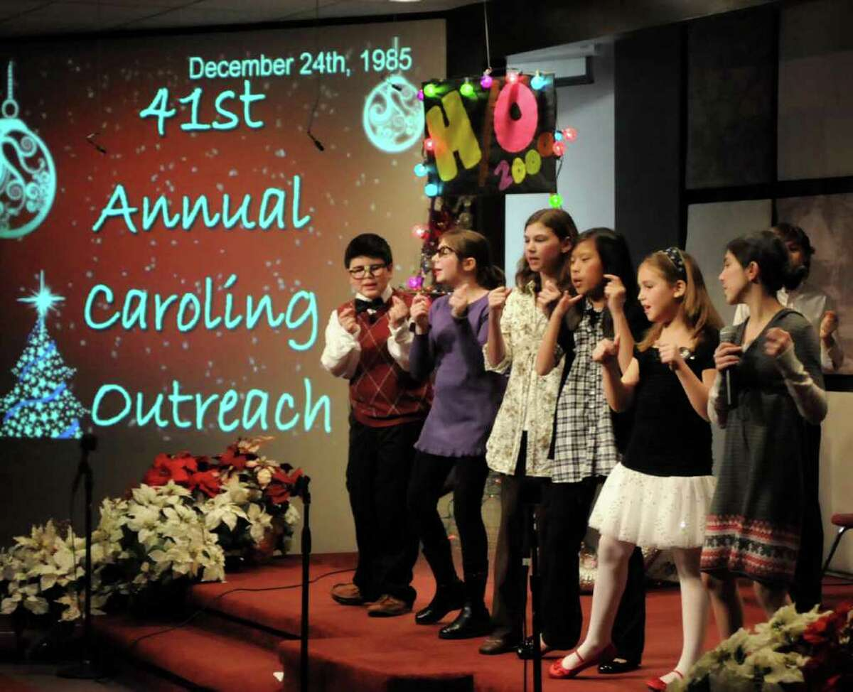 """Grace Christian Fellowship Church in Newtown, CT. held its annual children's musical on Sun. Dec. 19, 2010. This year's performance was """"Back to the Manger."""" From left, Jared Hirsch, Sarah Bruno, Natalee Brenner, Olivia Paris, Abby Wilkinson and Jenna Pannese sing Christmas carols during the performance."""
