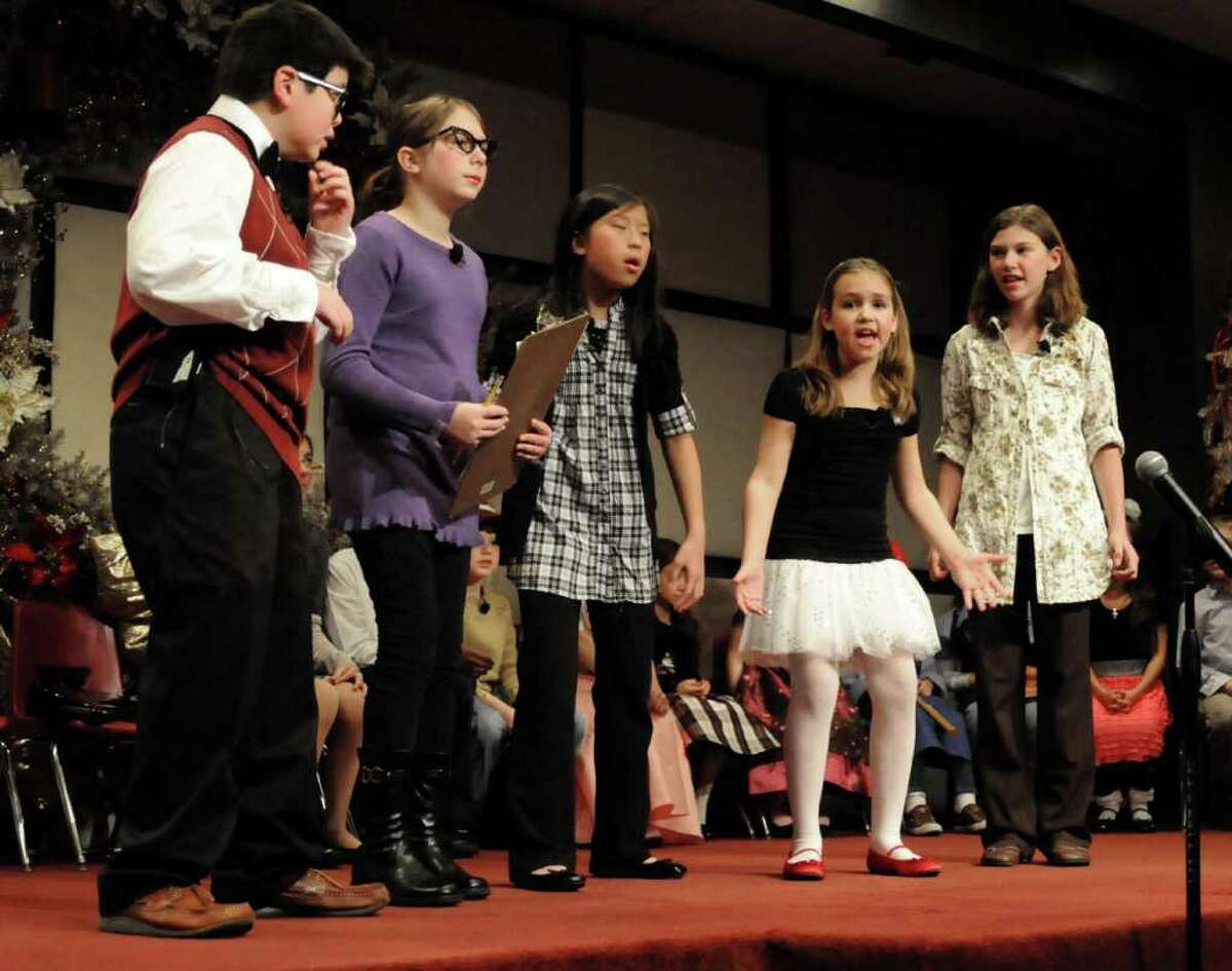 """Grace Christian Fellowship Church in Newtown, CT. held its annual children's musical on Sun. Dec. 19, 2010. This year's performance was """"Back to the Manger"""". From left, are Jared Hirsch, Sarah Bruno, Natalee Brenner, Olivia Paris and Abby Wilkinson."""