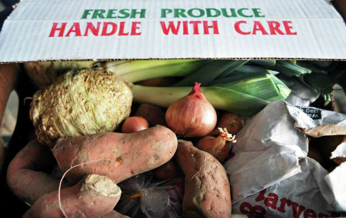 Root vegetables ready for pickup at the Denison farm in Schaghticoke. (John Carl D'Annibale / Times Union)