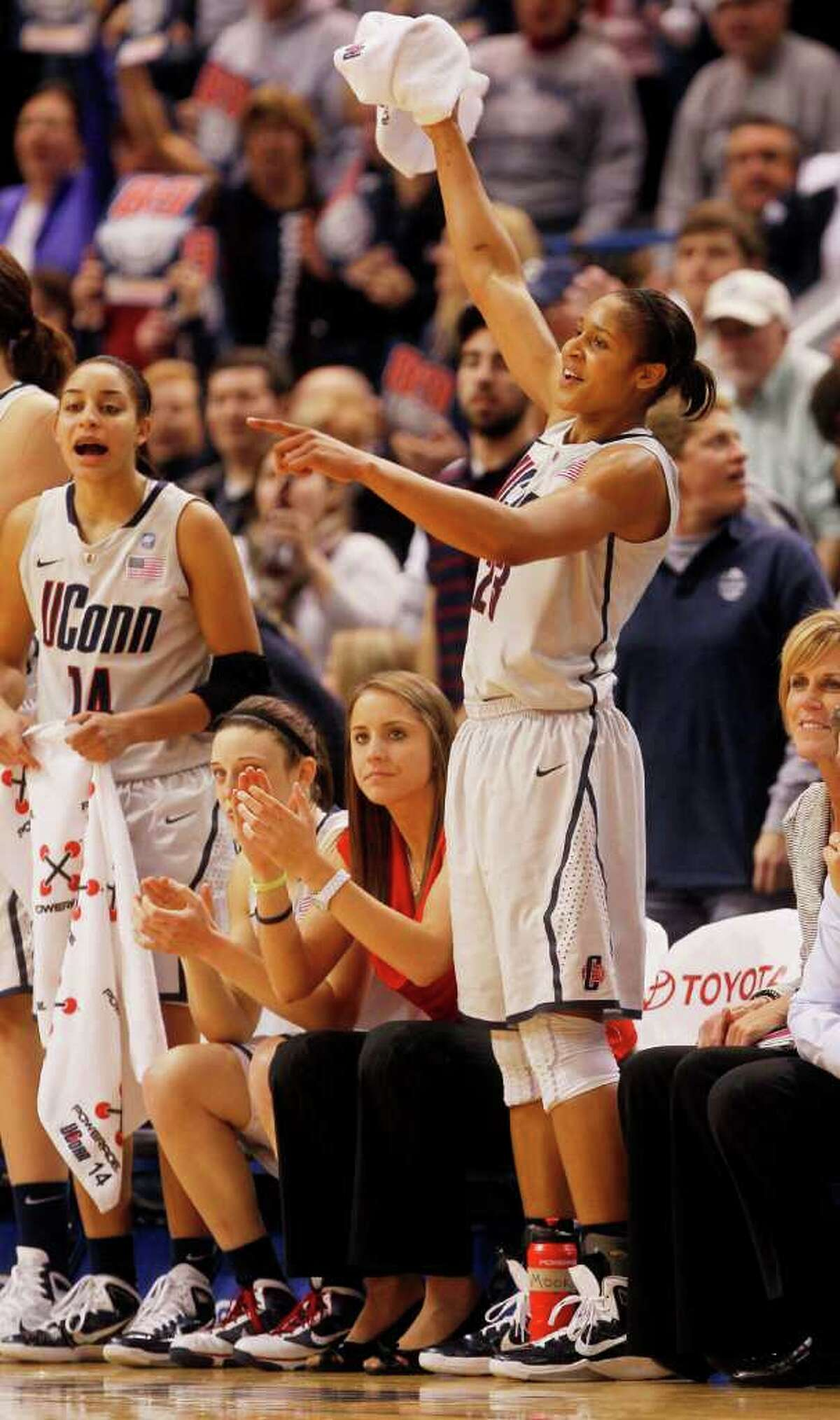 HARTFORD, CT - DECEMBER 21: Maya Moore #23 of the Connecticut celebrates in the final minutes of a win over Florida State on December 21, 2010 in Hartford, Connecticut. Connecticut set a record with 89 straight wins without a defeat. (Photo by Jim Rogash/Getty Images) *** Local Caption *** Maya Moore