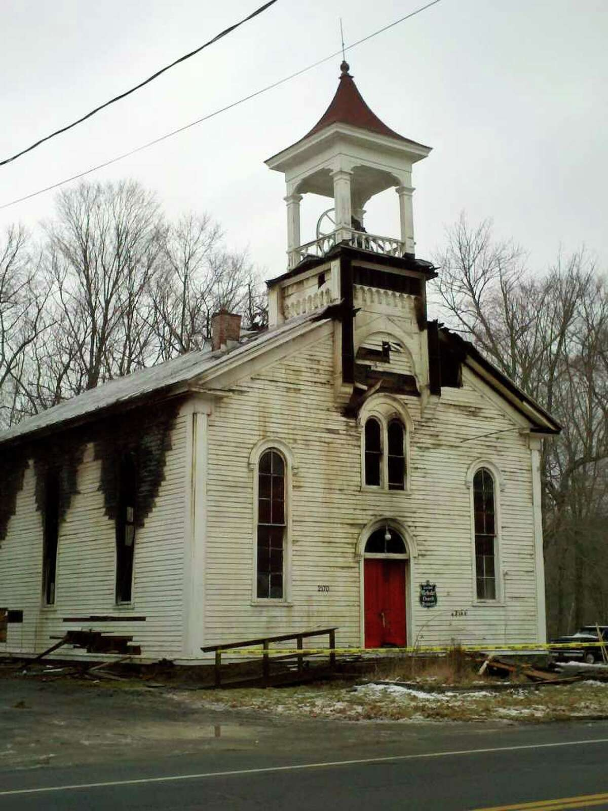 The United Methodist Church on Route 20 in Brainard was consumed by fire early Wednesday, Dec. 22, 2010. (DAYELIN ROMAN / TIMES UNION)