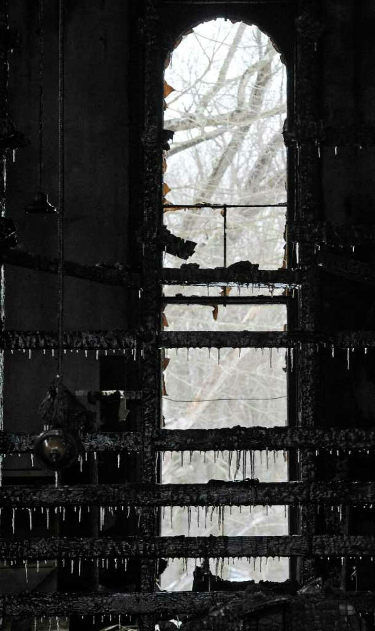 Fire gutted the United Methodist Church in Brainard on Wednesday, Dec. 22, 2010. (Skip Dickstein / Times Union)
