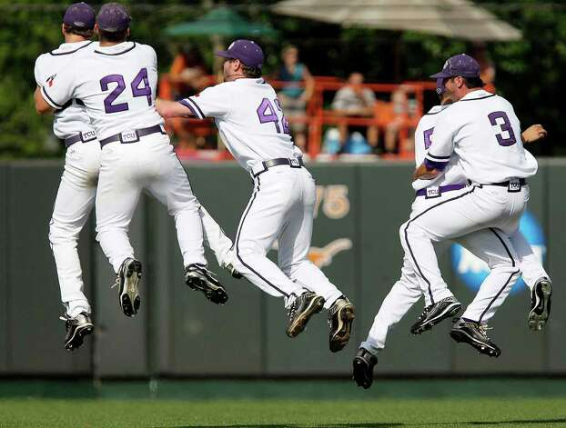 TCU players celebrate a 4-1 victory over Texas in the final game of the NCAA college baseball tournament super regional in Austin, Sunday, June 13, 2010. TCU advanced to the College World Series for the first time. Photo: Jerry Lara, SAN ANTONIO EXPRESS-NEWS / San Antonio Express-News