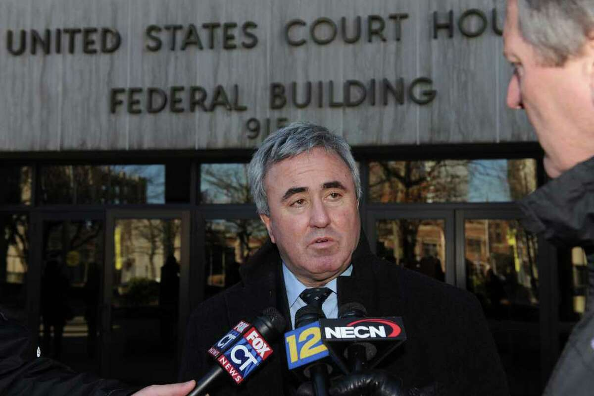 """Attorney Michael """"Mickey"""" Sherman speaks in front of U.S. District Court in Bridgeport, Conn. Dec. 22nd, 2010. Sherman was sentenced to a year and a day in prison for failing to pay income tax. He is scheduled to report to prison in March."""