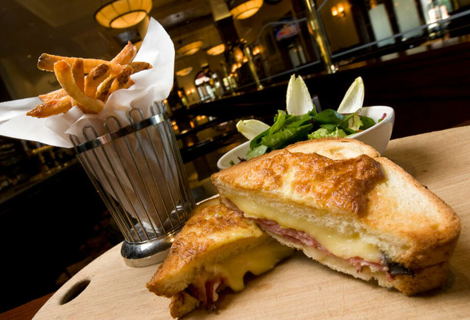Croque Monsieur with a house salad at Brasserie Pavil  PHOTO BY ROBIN JERSTAD/SPECIAL TO THE EXPRESS-NEWS