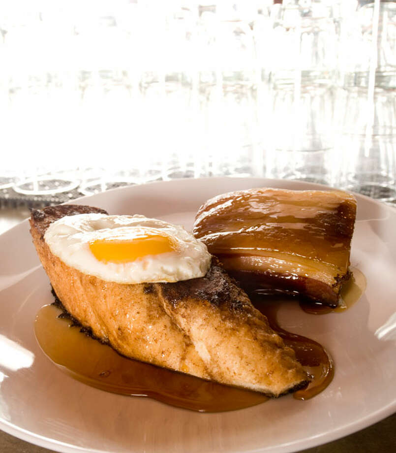 Pork Belly with a Fried Egg and French Toast with Espresso Maple Syrup from the Monterey.PHOTO BY ROBIN JERSTAD/SPECIAL TO THE EXPRESS-NEWS