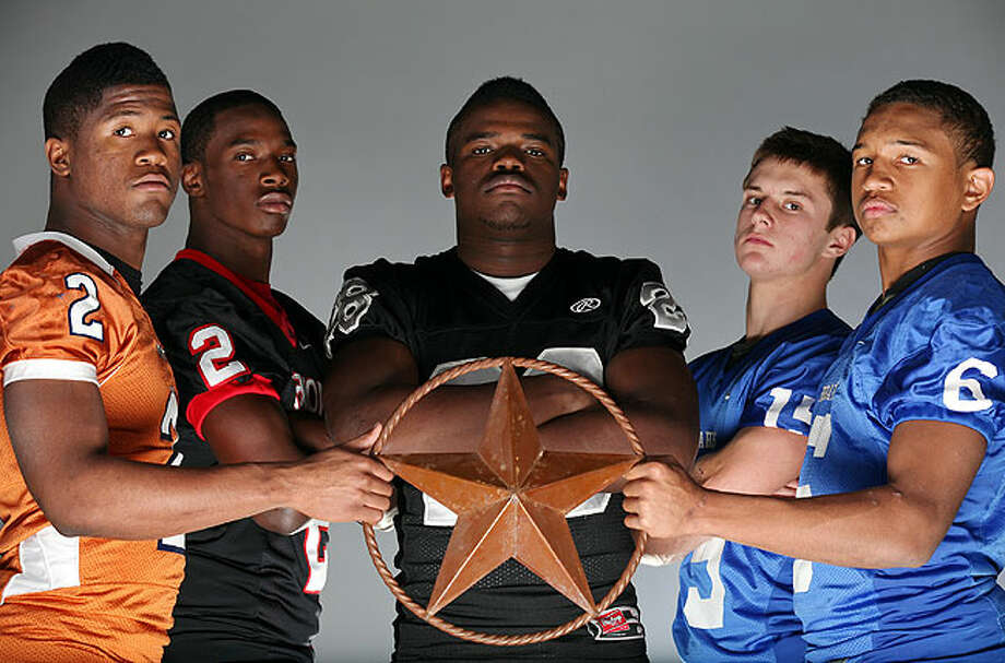 Offensive backfield (from left): Aaron Green of Madison, Mykkele Thompson of Stevens, Malcolm Brown of Steele, Clinton Killough of MacArthur and Darik Dillard of MacArthur. Photo: EDWARD A. ORNELAS/eaornelas@express-news.net
