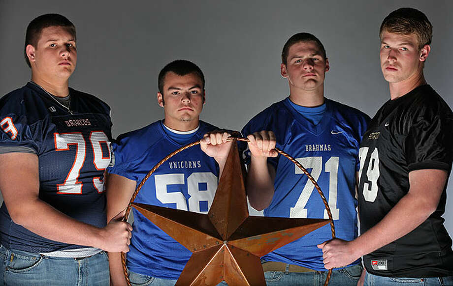 Area top offensive linemen (from left): Kyle Marrs of Brandeis, Andre  Sierra of New Braunfels, Nathan Thompson of MacArthur and Joseph Cheek  of Seguin. Cheek has committed to Texas A&M. Photo: EDWARD A. ORNELAS/eaornelas@express-news.net