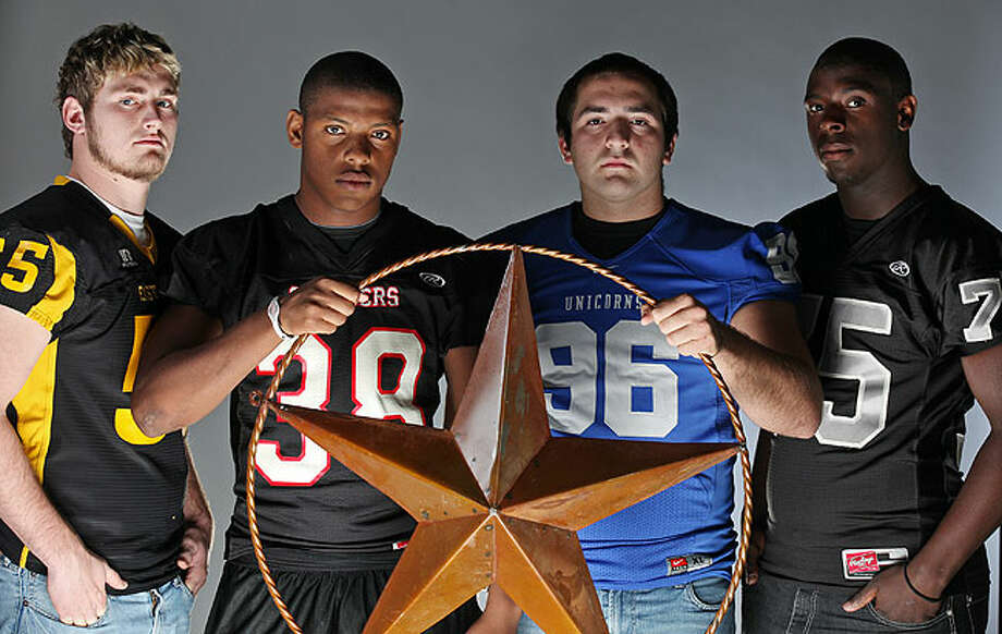 (from left): Gant Kiolbassa of East Central, James Fowler of Churchill, Cory Gould of New Braunfels and Alex Lincoln of Steele. Photo: EDWARD A. ORNELAS/eaornelas@express-news.net