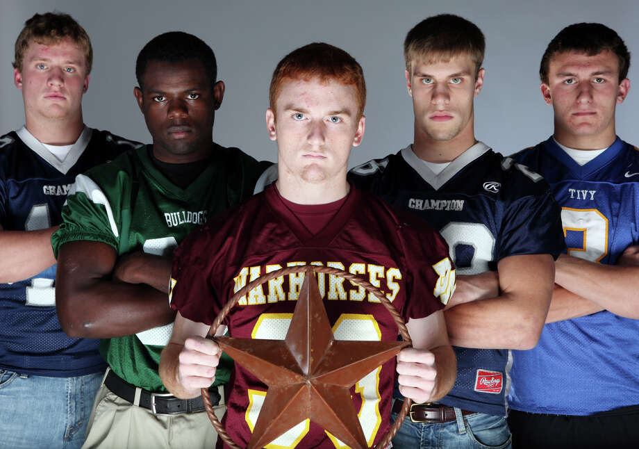 Offensive backfield (from left): John Free of Boerne Champion, Doug Giles of Marion, Joseph Sadler of Devine, David Rogers of Boerne Champion and Johnny Manziel of Tivy. Photo: EDWARD A. ORNELAS/eaornelas@express-news.net