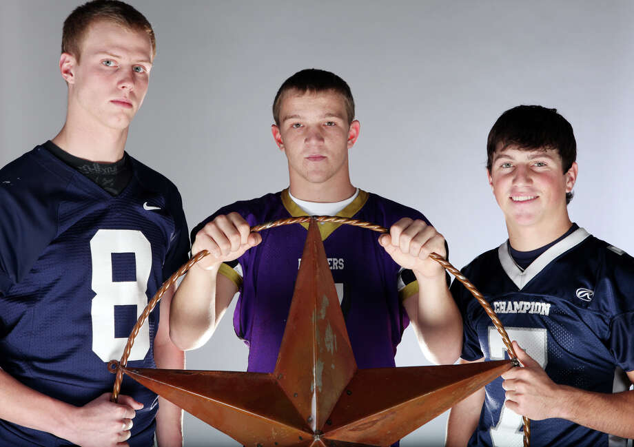 Secondary (from left): Andrew Lind of Smithson Valley, John Bormann of Navarro and Blake Allemand of Boerne Champion; not pictured, Joseph Lizcano of Clemens. Photo: EDWARD A. ORNELAS/eaornelas@express-news.net