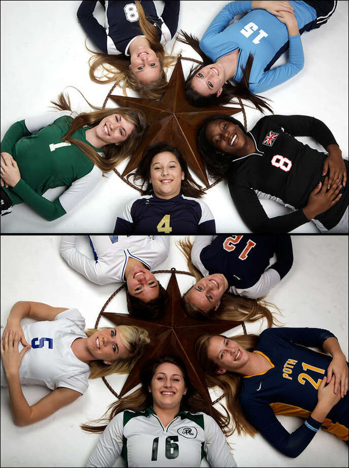 Top photo (clockwise from bottom): Dominique Gonzalez of O'Connor (No. 4), Kimberly Vaio of Incarnate Word, Allison Titzman of Smithson Valley, Analisse Shannon of Johnson and Deveney Wells-Gibson of Churchill.Bottom photo (clockwise from bottom): Kayla Keller of Reagan (No. 16), Angela Lowak of New Braunfels, Kelsey Huber of MacArthur, Ashley Rine of Brandeis and Tara Dunn of Poth. Photo: JERRY LARA/glara@express-news.net