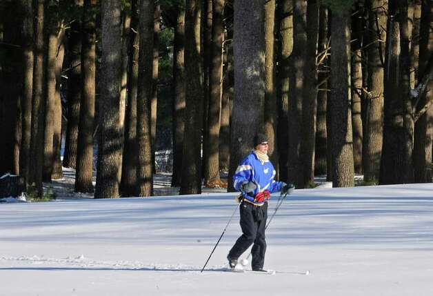 Christine Norris of Connecticut cross-country skis on a golf course at the Saratoga State Park in Saratoga, NY on December 27, 2010. (Lori Van Buren / Times Union) Photo: Lori Van Buren