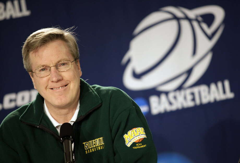 Siena head coach Fran McCaffery talks to reporters during a press conference at Spokane Arena during the first round NCAA 2010 Basketball Championship on March 18, 2010. (Times Union archive)