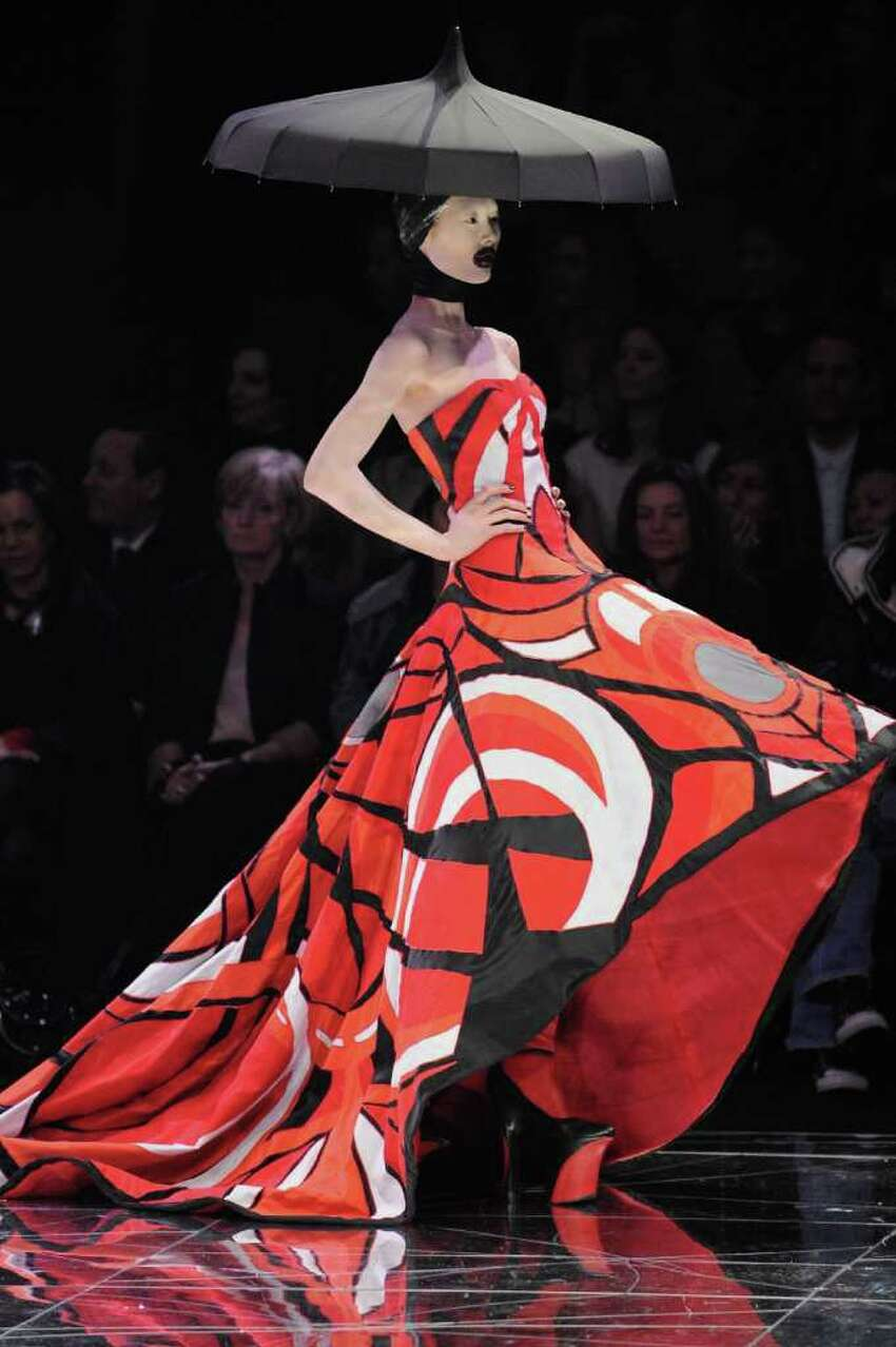 PARIS - MARCH 10: A model walks down the catwalk during the Alexander McQueen Ready-to-Wear A/W 2009 fashion show during Paris Fashion Week at POPB on March 10, 2009 in Paris, France. (Photo by Pascal Le Segretain/Getty Images)