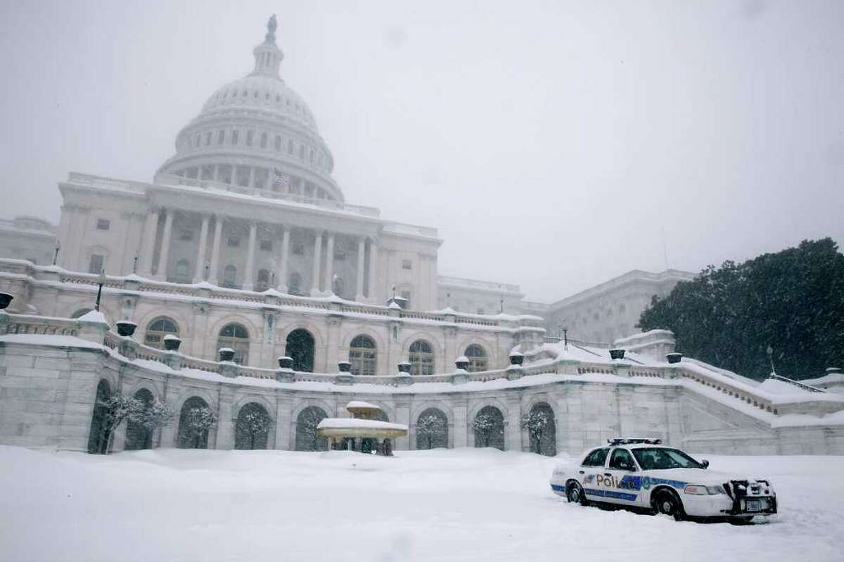 WASHINGTON - FEBRUARY 10: A U.S. Capitol Police cruiser sits parked in the plaza in front of the Capitol during a powerful winter storm February 10, 2010 in Washington, DC. The capital area was crippled Wednesday with the second major winter storm of the season as whiteout conditions forced the area's three major airports to cancel flights and the postal service suspended delivery. (Photo by Chip Somodevilla/Getty Images)