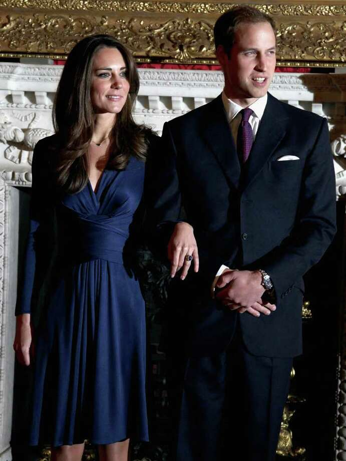 LONDON, ENGLAND - NOVEMBER 16:  Prince William and Kate Middleton pose for photographs in the State Apartments of St James Palace on November 16, 2010 in London, England. After much speculation, Clarence House today announced the engagement of Prince William to Kate Middleton. The couple will get married in either the Spring or Summer of next year and continue to live in North Wales while Prince William works as an air sea rescue pilot for the RAF. The couple became engaged during a recent holiday in Kenya having been together for eight years.  (Photo by Chris Jackson/Getty Images) *** Local Caption *** Prince William;Kate Middleton Photo: Chris Jackson, Getty Images / 2010 Getty Images