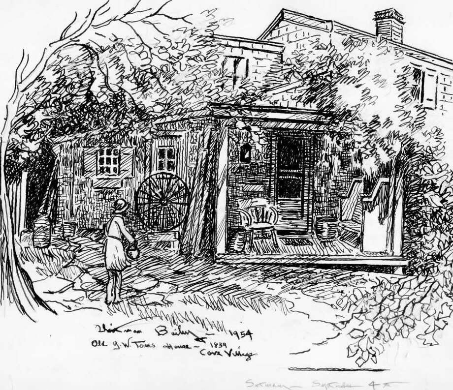 Sketch by Whitman Bailey Originally published Sept 4, 1954. Old George Washington Toms house built in 1839 in Cove Village. Photo: Contributed Photo / Stamford Advocate Contributed