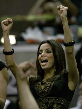Eva Longoria cheers on the San Antonio Spurs in the second quarter of game five Wednesday, May, 2, 2007 at the AT&T Center. Photo: WILLIAM LUTHER, SAN ANTONIO EXPRESS-NEWS / SAN ANTONIO EXPRESS-NEWS