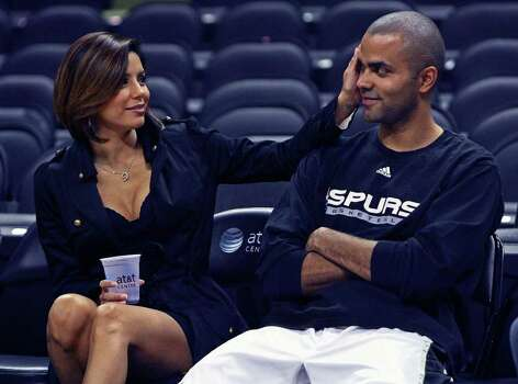 SPORTS   Eva Longoria spends some time with  husband Tony Parker courtside before the start of the Spurs preseason game with the Indiana Pacers in San Antonio October 18, 2008.   San Antonio Spurs play the Indiana Pacers at the AT&T Center Saturday, October 18, 2008. Photo: TOM REEL, SAN ANTONIO EXPRESS-NEWS / treel@express-news.net