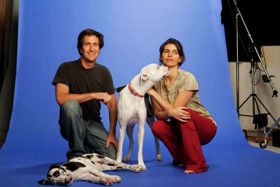 San Antonio's Dan Borris and his wife, Alejandra Diaz-Berrio, came out with their first Yoga Dogs calendar in 2009. Photo: Dan Borris/yogadogz.com
