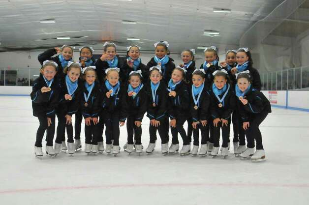 The Skyliners are made up of 135 synchronized skaters who skate at seven different levels, or lines. The preliminary team, pictured above, represents Windy Hill Skating Club in Greenwich. Photo: Contributed Photo / Greenwich Citizen