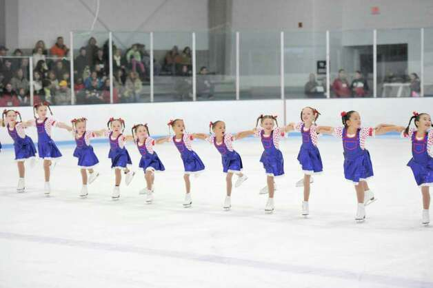 The Skyliners synchronized skaters include the beginner team, pictured here, which is one of the teams representing the Windy Hill Skating Club in Greenwich. Photo: Contributed Photo / Greenwich Citizen