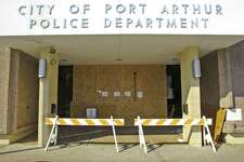 The Port Arthur Police Department has to replace their front lobby doors and still have a bit more cleaning up to do after a 1998 Crown Victoria entered their lobby at 9:26 p.m. Sunday. Dave Ryan/The Enterprise