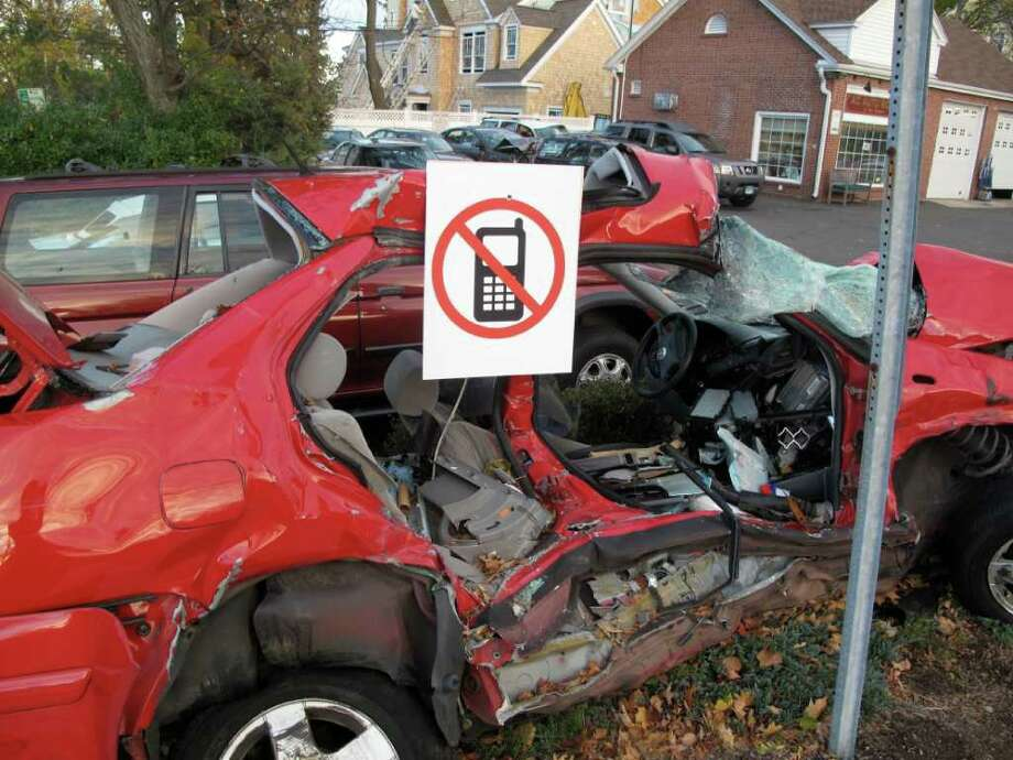This vehicle serves as a reminder to drive safely without talking on the phone Photo: Contributed Photo / New Canaan News