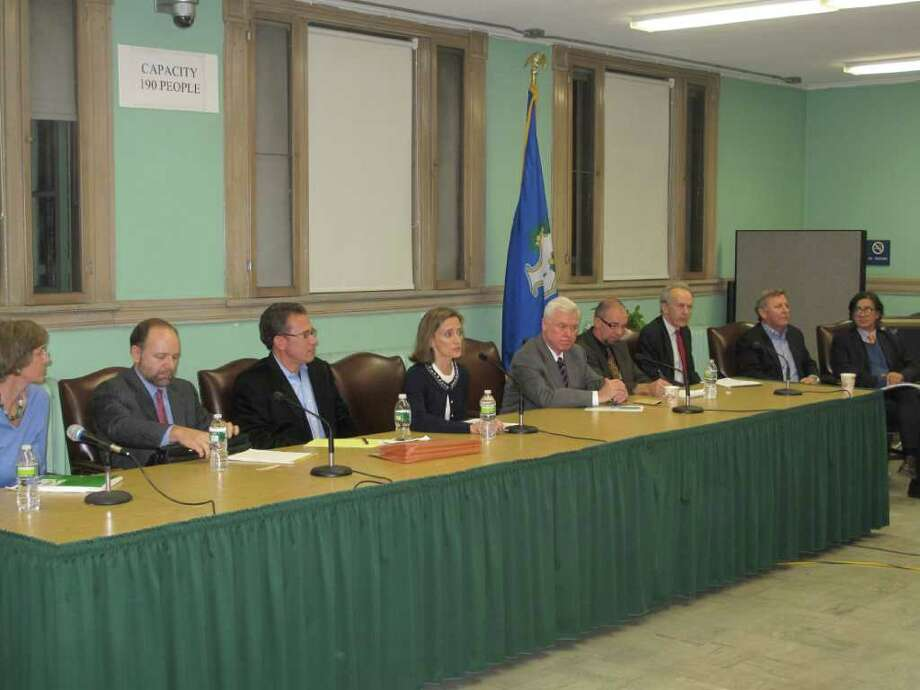 The LRPC and consultants listen intently to residents Photo: Contributed Photo / New Canaan News