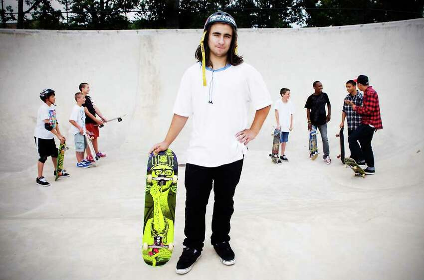 Jesse Rand, 18, a Stamford High School senior who has dual citizenship in the United States and Israel, at Scalzi skate park.