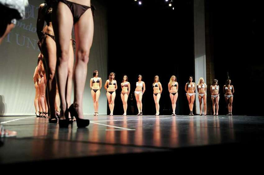 The top 20 finalists line the stage during the 20th Annual Miss Italia USA contest as winners of state competitions battle for the title of Miss Italia USA 2010 at the Palace Theater Sunday afternoon, April 25, 2010. The winner will travel to Italy to compete against women from 49 countries for the title of Miss Italia nel Mondo.