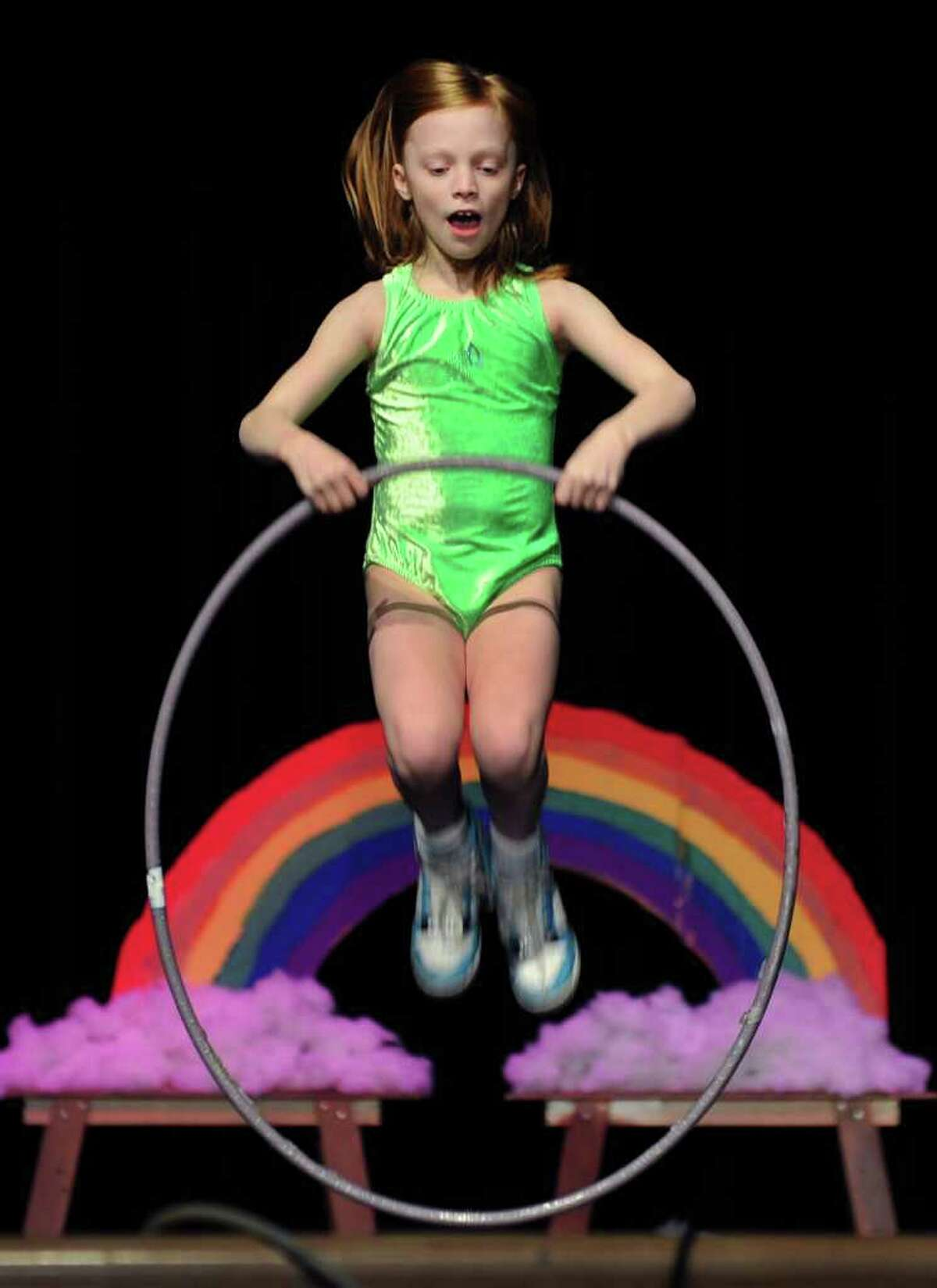 Ella Edwards performs as the Queen of the Hoola Hoops, during the Osborn Hill Elementary School's Annual Variety Show at Roger Ludlowe Middle School Auditorium in Fairfield, Conn. on Friday January 29, 2010.