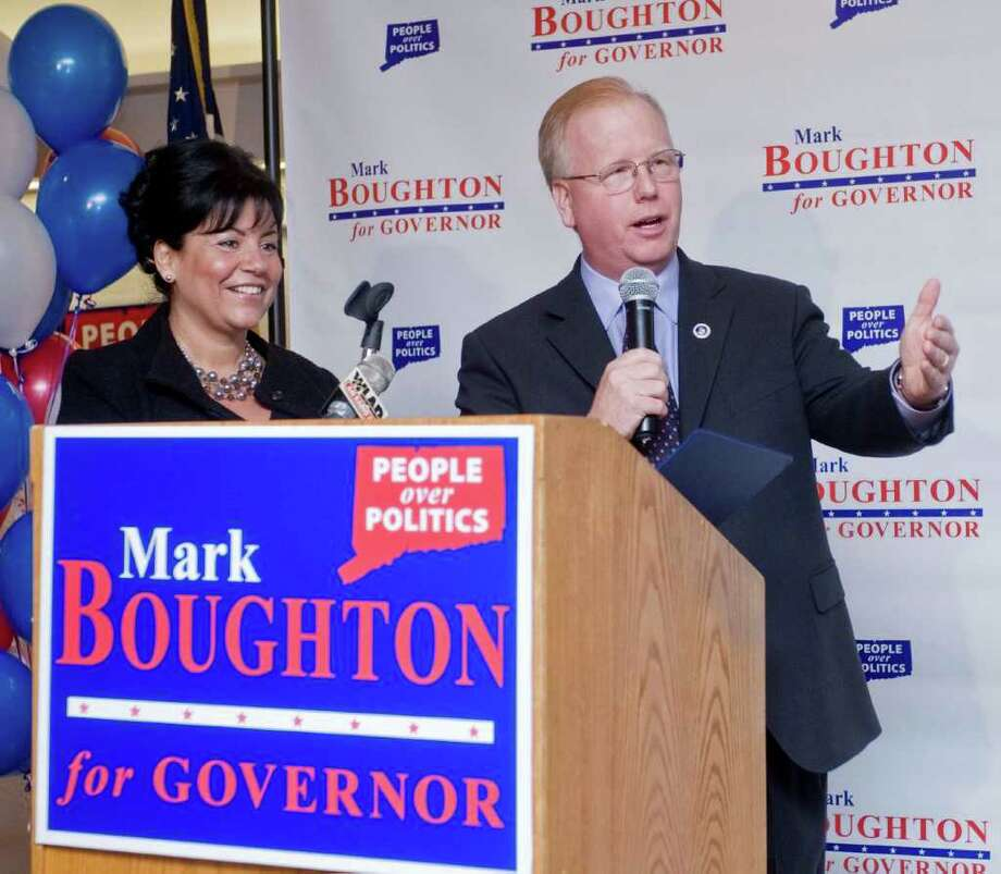 Phyllis Boughton and Mayor Mark Boughton make the announcement to run for governor, at Stony Hill Inn in Bethel. Monday, Feb. 1, 2010 Photo: Scott Mullin / The News-Times