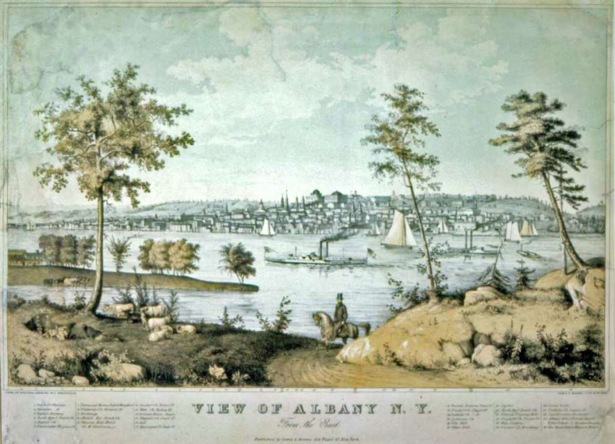 This lithogragh, titled Bird?s Eye View of Albany by Edwin Whitefield, is part of the exhibition Not Just Another Pretty Place: The Landscape of New York at the New York State Museum. The exhibition is open through March 2011 in the West Gallery. (Courtesy State Museum)