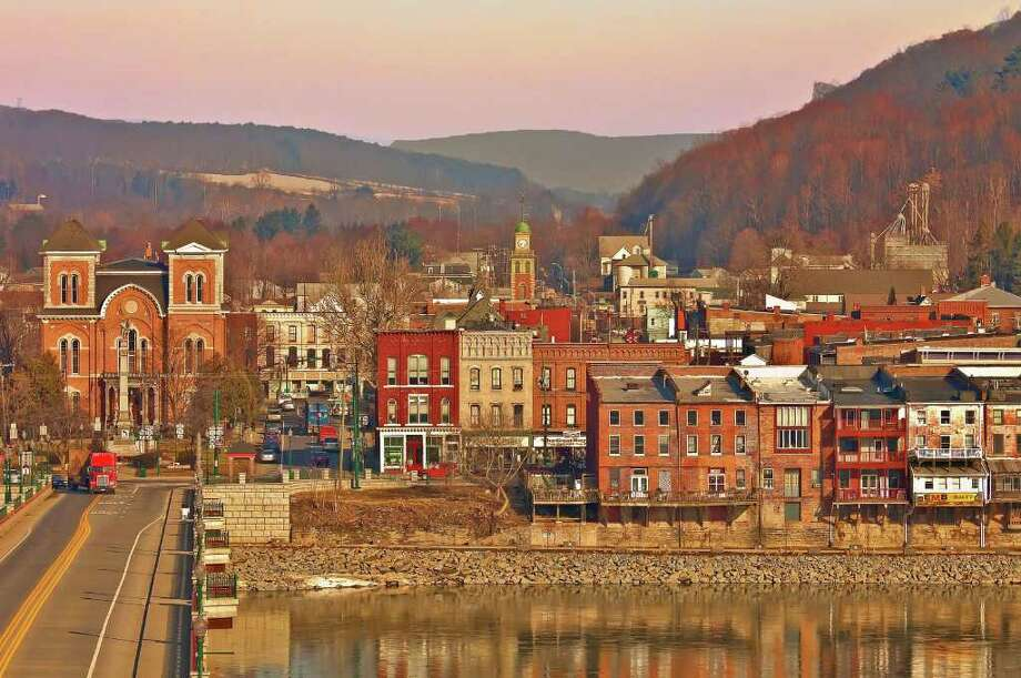 "Nancy Wulwick Basmann of Vestal NY, photo of Owego NY ; part of the ""Wish You Were Here"" exhibition at the State Museum. (Courtesy State Museum)"