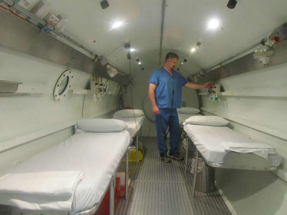 Nix Hyperbaric Clinical Director Jim Sheffield inside the hyperbaric chamber at Nix Medical Center used to treat carbon monoxide poisoning patients. Courtesy photo