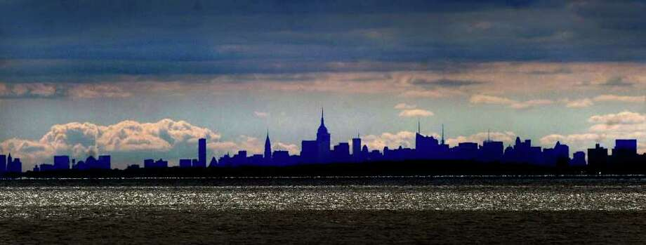 The Manhattan skyline as seen from the western side of Greenwich Point, Friday afternoon, Sept. 17, 2010. 9/22/10 GT photo = Greenwich Scene. by Bob Luckey Photo: Bob Luckey / Greenwich Time