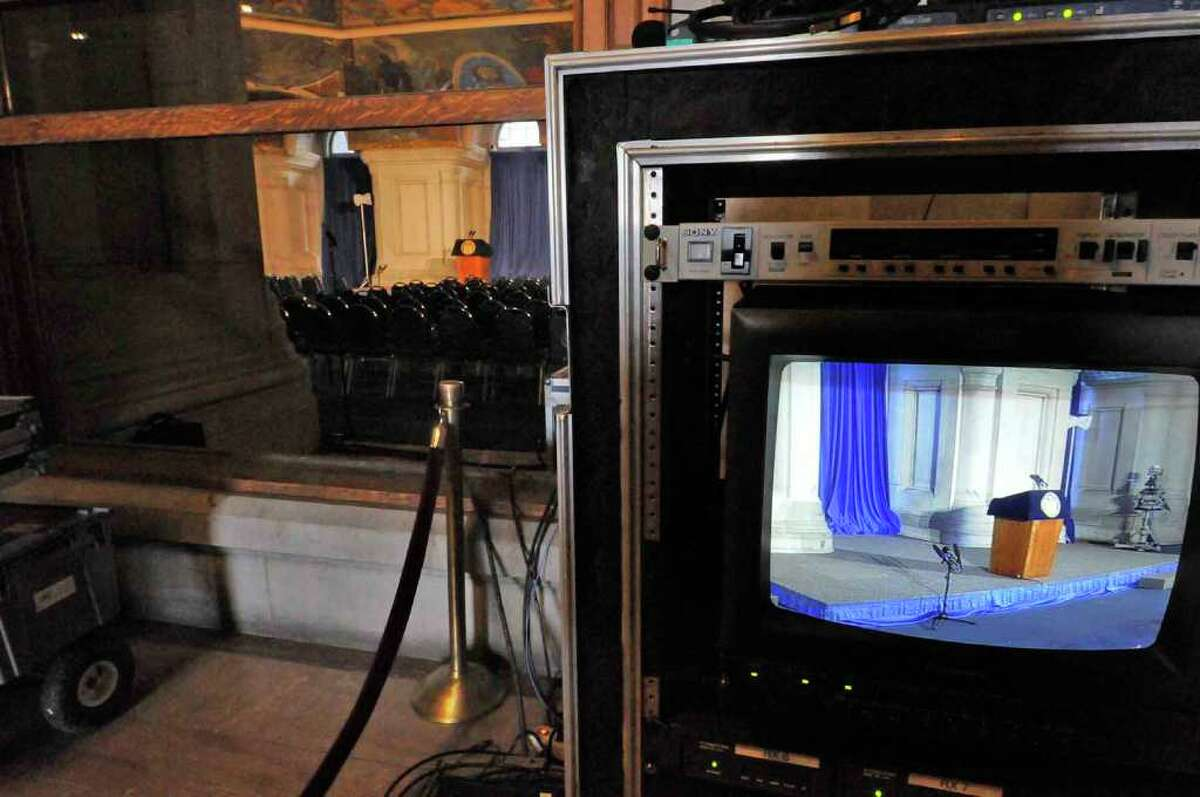 The stage is set in the War Room at the Capitol for the Cuomo swearing-in ceremony, set for Saturday, New Year's Day. ( Michael P. Farrell/Times Union )