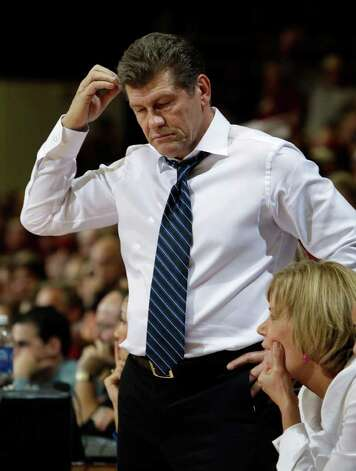 Connecticut coach Geno Auriemma pauses during the half of Connecticut's 71-59 loss to Stanford in an NCAA college basketball game in Stanford, Calif., Thursday, Dec. 30, 2010. (AP Photo/Paul Sakuma) Photo: AP