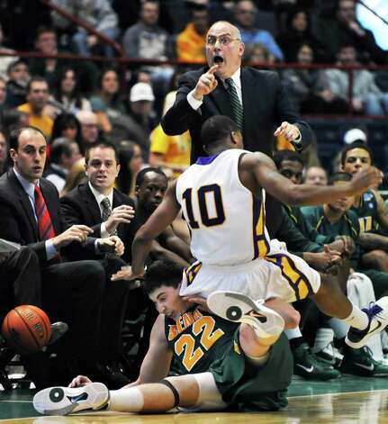 7. Siena successor found a few seats down. After Fran McCaffery departed for Iowa, Siena conducted a nationwide search before selecting longtime McCaffery assistant Mitch Buonaguro to take over the men?s basketball program. Photo: John Carl D'Annibale / 00011285A