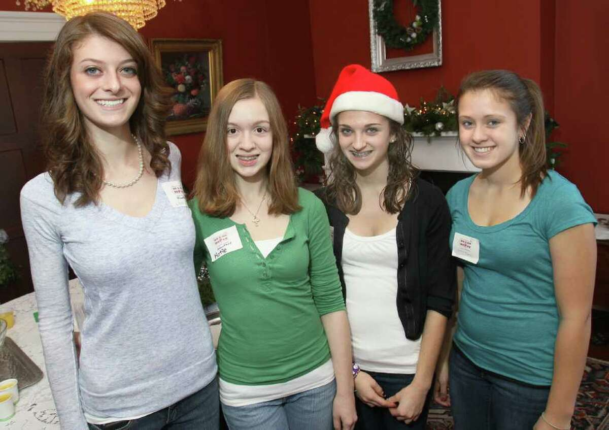 Colonie Central High School Key Club members served as volunteers at the party. From left: Lauren Motto, Katie Mead, Carly Motto and Rachel Tenney. (Joe Putrock / Special to the Times Union)