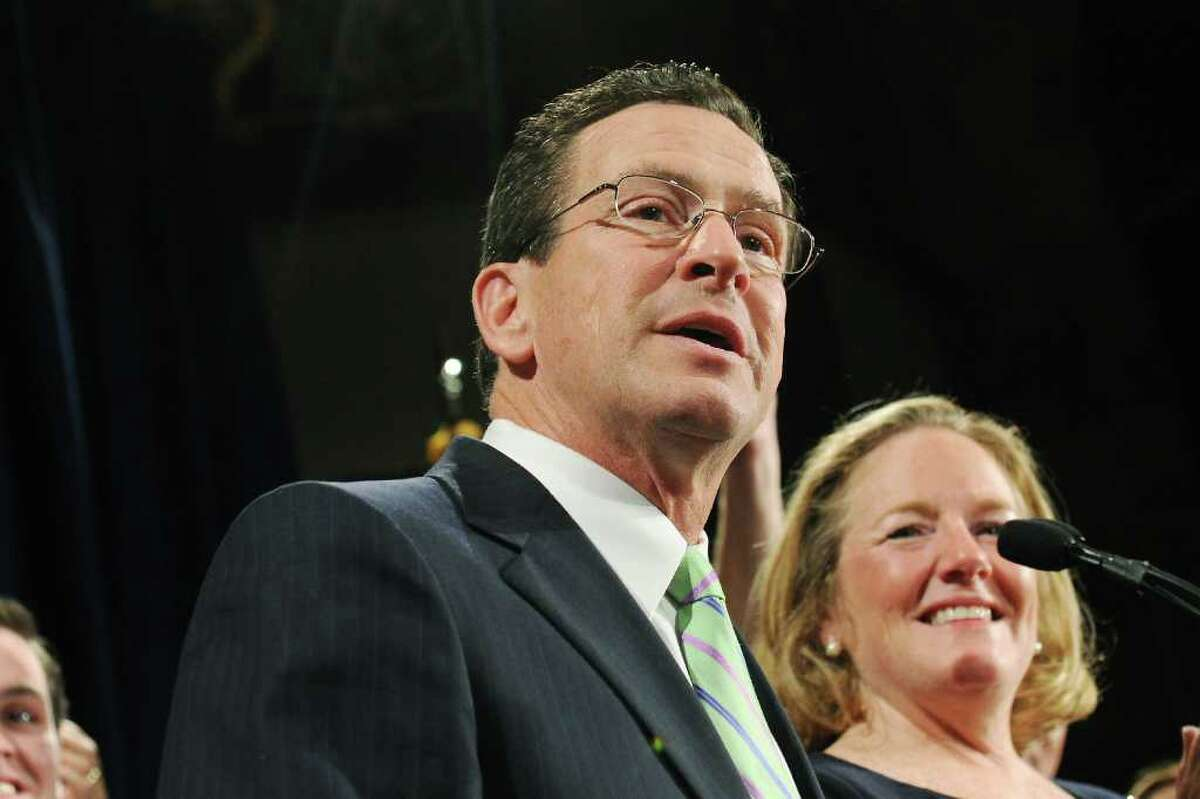 Governor-Elect Dannel Malloy delivers his victory speech with his wife Cathy Malloy by his side at The Society Room on election night in Hartford, Conn. on Tuesday Nov. 2, 2010. Malloy will take the oath of office on Jan. 5, 2011.