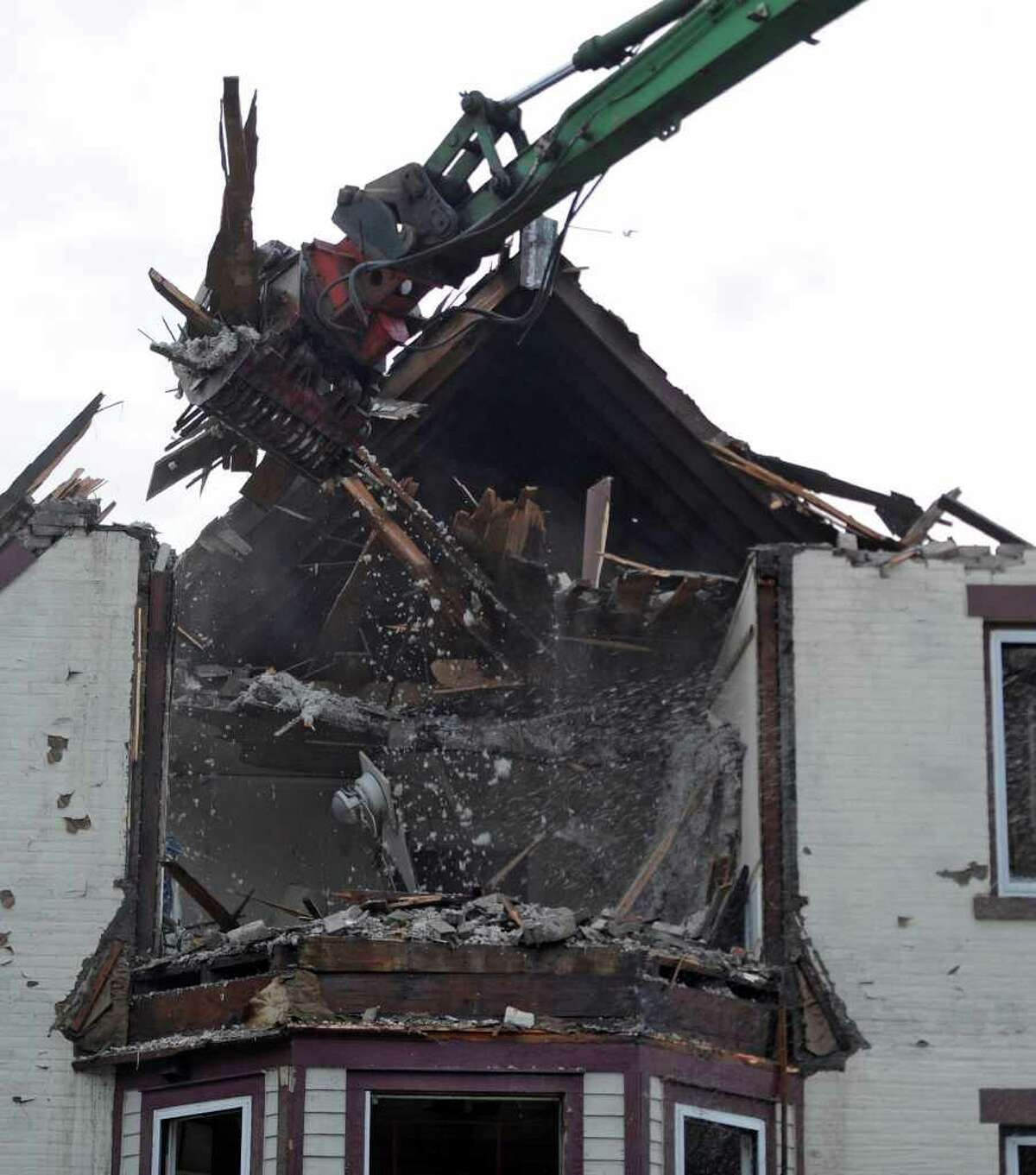 The building at the corner of Eastern Avenue and McClellan Street in Schenectady was demolished Friday. (Skip Dickstein / Times Union)