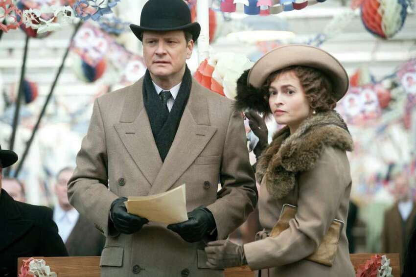 Colin Firth as King George VI and Helena Bonham Carter as his wife, Queen Elizabeth, in Tom Hooper's film THE KING'S SPEECH. (Laurie Sparham / The Weinstein Company)