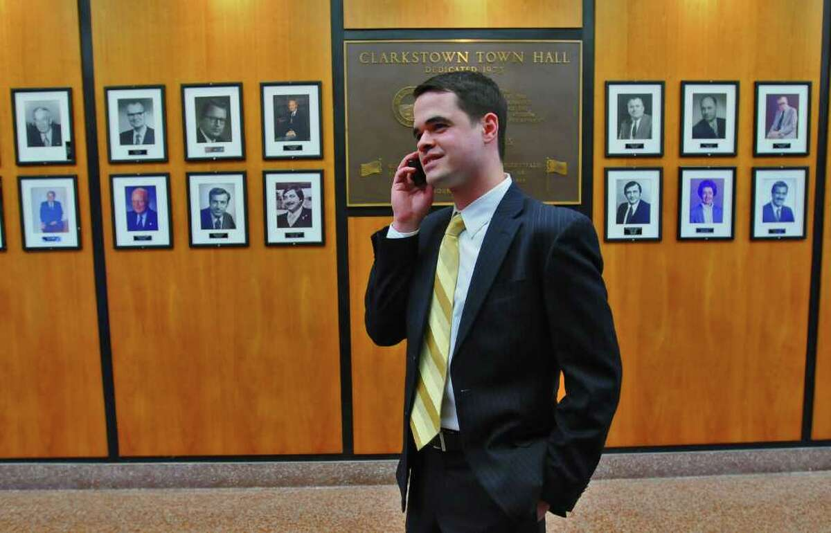 David Carlucci, a Rockland County Democrat, is the youngest state senator in the 2011 session at age 29. He appears in Clarkstown Town Hall, where he served as town clerk. (Philip Kamrass/Times Union)